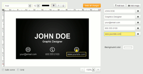 Business card editor