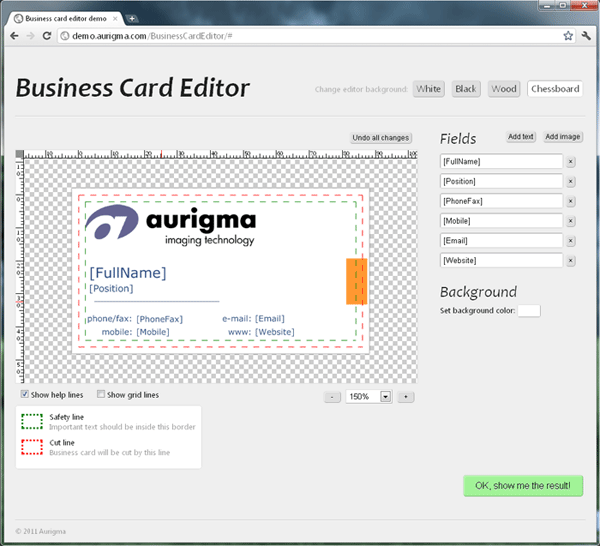 Online business card editor based on Graphics Mill.